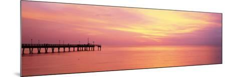 Sunset at Pier, Water, Caspersen Beach, Venice, Florida, USA--Mounted Photographic Print
