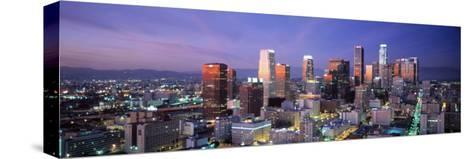 Night, Skyline, Cityscape, Los Angeles, California, USA--Stretched Canvas Print