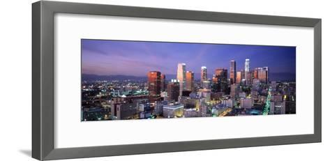 Night, Skyline, Cityscape, Los Angeles, California, USA--Framed Art Print