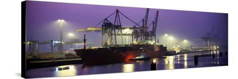 Port, Night, Illuminated, Hamburg, Germany--Stretched Canvas Print