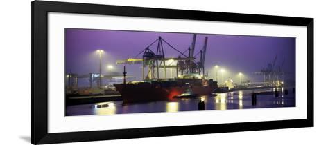 Port, Night, Illuminated, Hamburg, Germany--Framed Art Print
