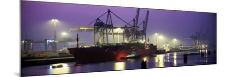 Port, Night, Illuminated, Hamburg, Germany--Mounted Photographic Print