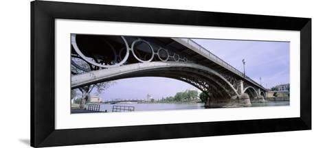Low Angle View of Isabel II Bridge Over Guadalquivir River, Seville, Spain--Framed Art Print