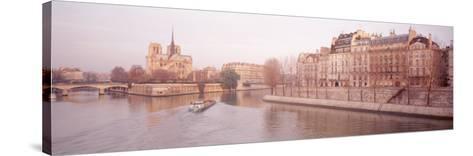 Buildings Near Seine River, Notre Dame, Paris, France--Stretched Canvas Print