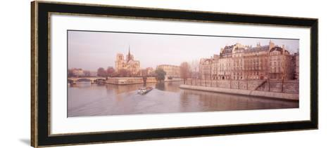 Buildings Near Seine River, Notre Dame, Paris, France--Framed Art Print
