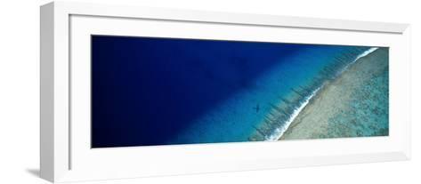 Aerial View of Beach, Teti'aroa Island, Polynesia--Framed Art Print
