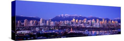Twilight, Vancouver Skyline, British Columbia, Canada--Stretched Canvas Print
