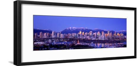 Twilight, Vancouver Skyline, British Columbia, Canada--Framed Art Print