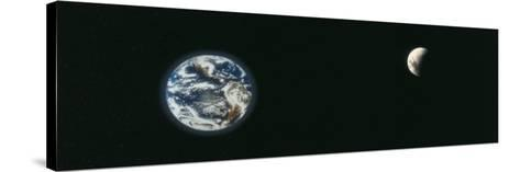 Earth and Moon, Montage--Stretched Canvas Print