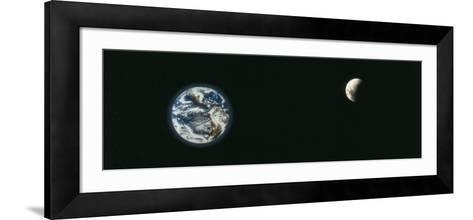 Earth and Moon, Montage--Framed Art Print