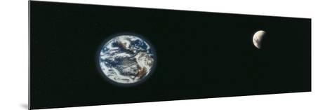 Earth and Moon, Montage--Mounted Photographic Print