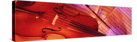 Colored Lights, Close-up of a Violin--Stretched Canvas Print
