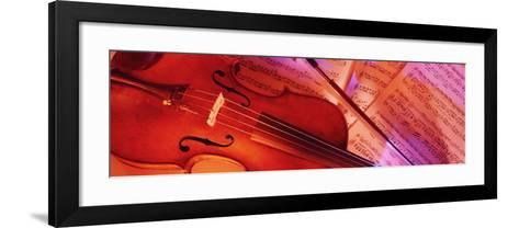 Colored Lights, Close-up of a Violin--Framed Art Print