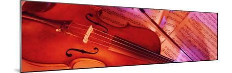 Colored Lights, Close-up of a Violin--Mounted Photographic Print