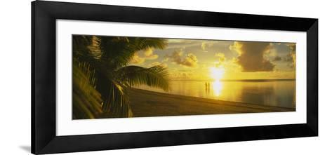 Silhouette of a Couple Standing on the Beach, Aitutaki, Cook Islands, French Polynesia--Framed Art Print