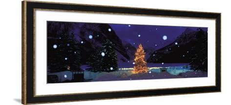 Tree with Lights and Chateau, Lake Louise, Alberta, Canada--Framed Art Print