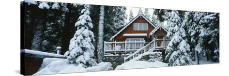 Snow Covered Chalet, Lake Tahoe, California, USA--Stretched Canvas Print