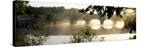 Stone Bridge in Fog, Loire Valley, France--Stretched Canvas Print