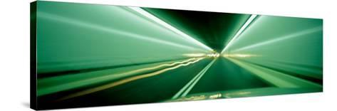 Drivers Perspective in Tunnel, Blurred Motion--Stretched Canvas Print