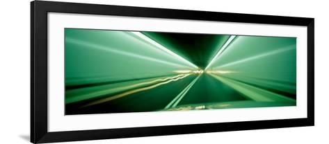 Drivers Perspective in Tunnel, Blurred Motion--Framed Art Print