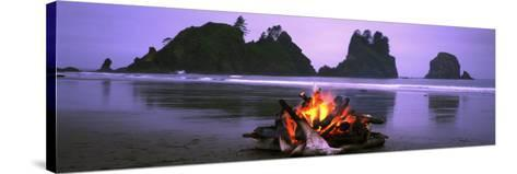 Bonfire on the Beach, Point of the Arches, Shi-Shi Beach, Washington State, USA--Stretched Canvas Print