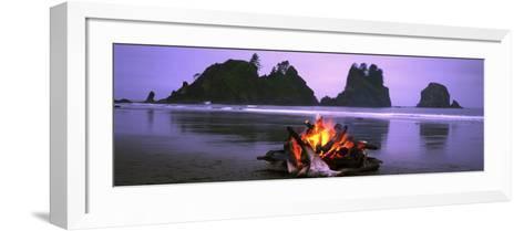 Bonfire on the Beach, Point of the Arches, Shi-Shi Beach, Washington State, USA--Framed Art Print