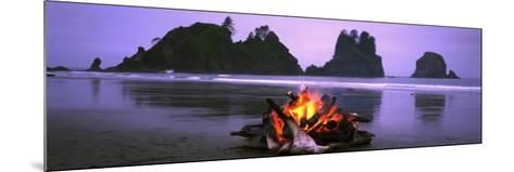 Bonfire on the Beach, Point of the Arches, Shi-Shi Beach, Washington State, USA--Mounted Photographic Print
