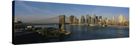 Bridge Across a River, Brooklyn Bridge, New York City, New York State, USA--Stretched Canvas Print