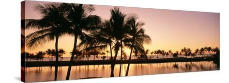 Sunset, Anaehoomalu Beach, Hawaii, USA--Stretched Canvas Print