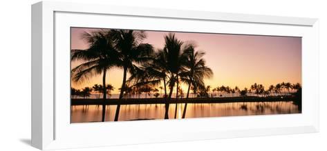 Sunset, Anaehoomalu Beach, Hawaii, USA--Framed Art Print