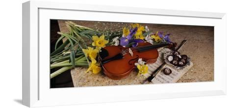 High Angle View of a Violin with Flowers--Framed Art Print