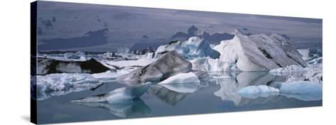 Glacier Floating on Water, Vatnajokull Glacier, Iceland--Stretched Canvas Print