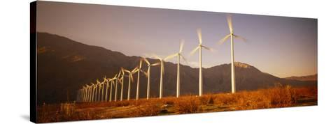 Wind Turbines in a Row, Palm Springs, California, USA--Stretched Canvas Print