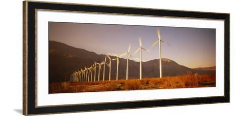 Wind Turbines in a Row, Palm Springs, California, USA--Framed Art Print