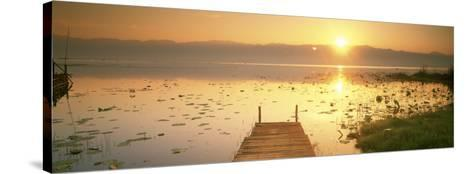 View of the Sunset and Pier, Inle Lake, Myanmar--Stretched Canvas Print
