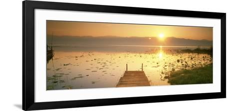 View of the Sunset and Pier, Inle Lake, Myanmar--Framed Art Print