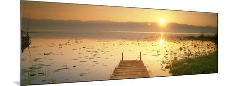 View of the Sunset and Pier, Inle Lake, Myanmar--Mounted Photographic Print