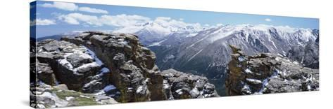 Panoramic View of Snowcapped Mountain Range, Rocky Mountain National Park, Colorado, USA--Stretched Canvas Print