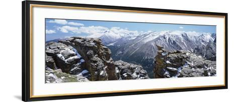 Panoramic View of Snowcapped Mountain Range, Rocky Mountain National Park, Colorado, USA--Framed Art Print