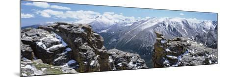 Panoramic View of Snowcapped Mountain Range, Rocky Mountain National Park, Colorado, USA--Mounted Photographic Print