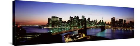 High Angle View of Brooklyn Bridge, New York City, New York State, USA--Stretched Canvas Print