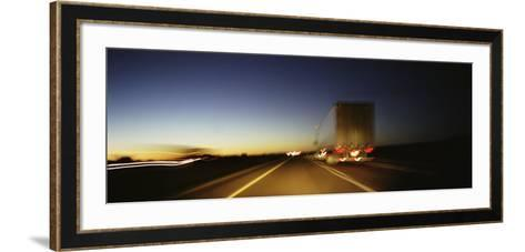 Rear View of Truck on a Two Lane Highway, Las Cruces, New Mexico, USA--Framed Art Print