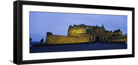Castle Lit Up at Dusk, Edinburgh Castle, Edinburgh, Scotland, United Kingdom--Framed Art Print