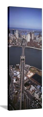 Aerial View of a Bridge, Brooklyn Bridge, Manhattan, New York City, New York State, USA--Stretched Canvas Print