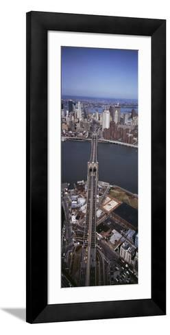 Aerial View of a Bridge, Brooklyn Bridge, Manhattan, New York City, New York State, USA--Framed Art Print