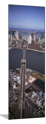 Aerial View of a Bridge, Brooklyn Bridge, Manhattan, New York City, New York State, USA--Mounted Photographic Print