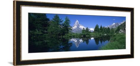 Reflection of a Snow Covered Mountain in a Lake, Grindjisee, Matterhorn, Zermatt, Switzerland--Framed Art Print