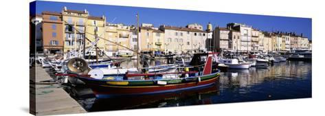 Boats Moored at a Dock, St. Tropez, Provence, France--Stretched Canvas Print
