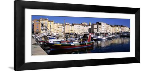 Boats Moored at a Dock, St. Tropez, Provence, France--Framed Art Print