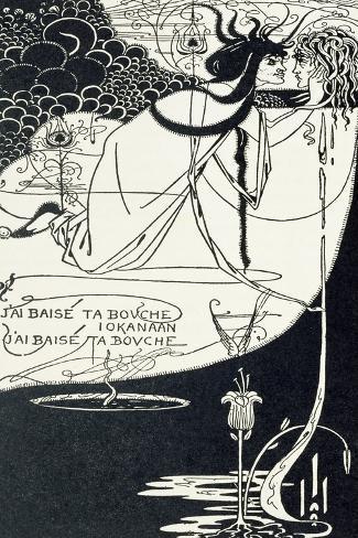"J""Ai Baise Ta Bouche, Jokanaan, Illustration from ""Salome"" by Oscar Wilde, Pub. 1894-Aubrey Beardsley-Stretched Canvas Print"